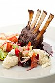 image of lamb chops  - Roasted Lamb Chops with Risotto and Vegetables - JPG