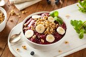 stock photo of fruit shake  - Healthy Organic Berry Smoothie Bowl with Granola and Fruit - JPG