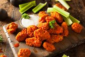 picture of chicken wings  - Hot and Spicy Boneless Buffalo Chicken Wings with Ranch