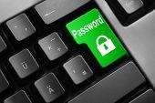 pic of vpn  - dark grey keyboard green button password lock symbol - JPG