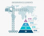 foto of pyramid shape  - Pyramid chart options construction infographics - JPG