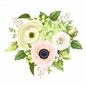 picture of hydrangea  - Vector bouquet with white rose - JPG