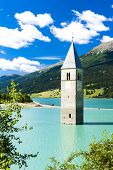 image of south tyrol  - tower of sunken church in Resia lake - JPG