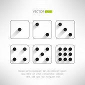 stock photo of crap  - Black and white dice icons set in modern flat design - JPG