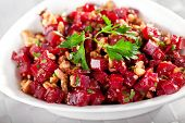 foto of cilantro  - Healthy salad from beet root walnut and cilantro - JPG