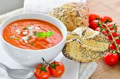 picture of bread rolls  - Fresh Tomato Soup And Fresh Baked Crusty Bread Rolls - JPG