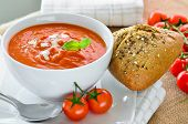 image of bread rolls  - Fresh Tomato Soup And Fresh Baked Crusty Bread Rolls - JPG