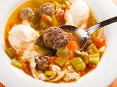 foto of meatball  - Tunisian soup with meatballs and eggs shot from above - JPG