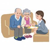 pic of geriatric  - Elderly couple consults with Geriatric care manager - JPG
