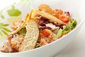 stock photo of caesar salad  - Seafood Caesar Salad with Shrimps - JPG