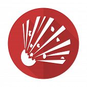 pic of bomb  - bomb red flat icon  - JPG