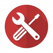 stock photo of tool  - tools red flat icon service sign - JPG
