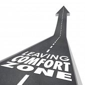 pic of experiments  - Leaving Comfort Zone words on a 3d road leading you to experience new things - JPG