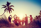 foto of beach party  - People Celebration Beach Party Summer Holiday Vacation Concept - JPG