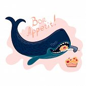 image of porridge  - Whale vector illustration who eating porridge large spoon - JPG