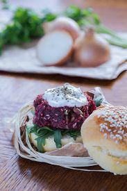 stock photo of veggie burger  - Close - JPG