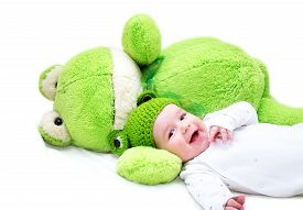 pic of baby frog  - baby in frog hat and soft toy - JPG