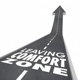 stock photo of experiments  - Leaving Comfort Zone words on a 3d road leading you to experience new things - JPG