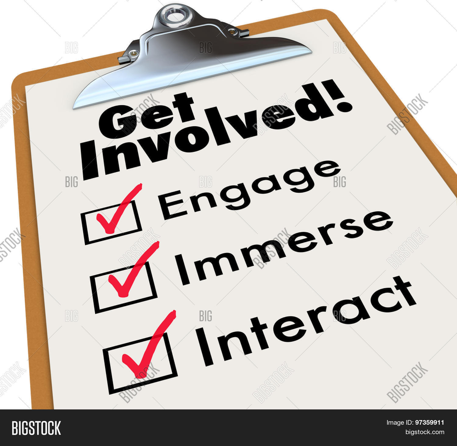 Get Involved: Get Involved Clipboard Checklist Image & Photo