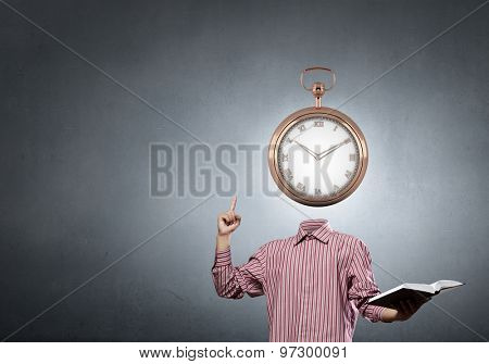 Businessman with alarm clock instead of his head