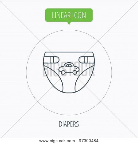 Diaper with car icon. Child underwear sign.