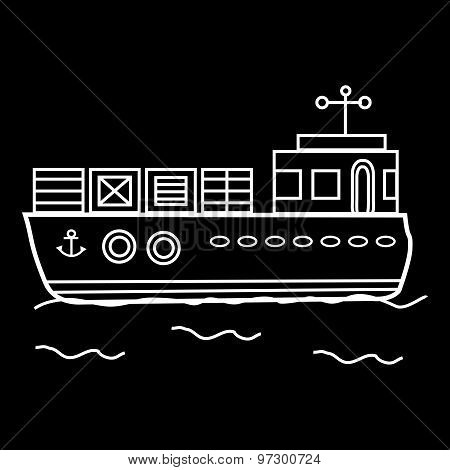 Cargo barge ship with containers