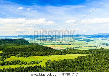 Summer Landscape Green Forest And Mountains
