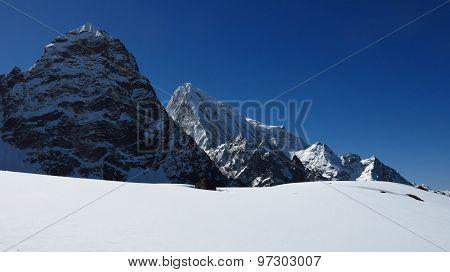Mountain Peaks Of Arakam Tse And Cholatse