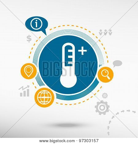 Thermometer Icon And Creative Design Elements