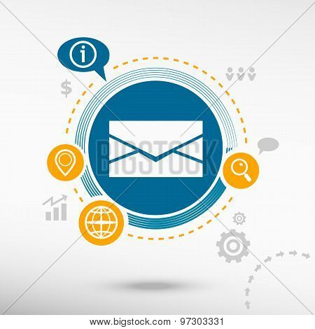 Envelope Icon And Creative Design Elements