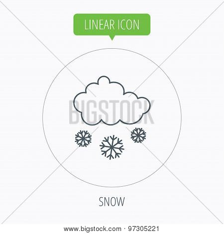 Snow icon. Snowflakes with cloud sign.