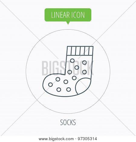 Sock icon. Baby underwear sign.
