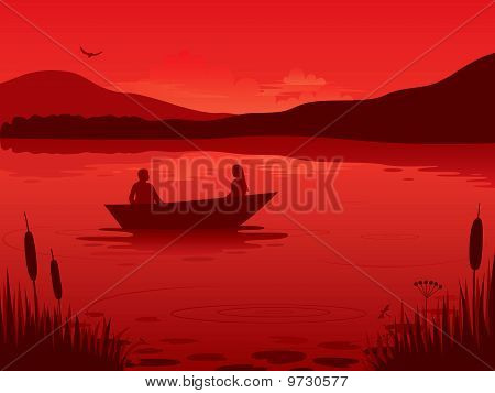 Sunset an a lake.