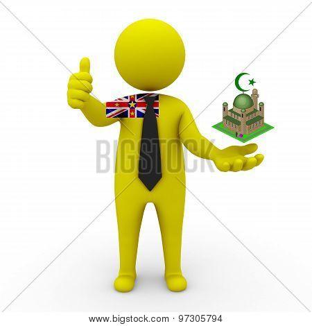 3d businessman people Niue - Muslim mosque and Islam in Niue