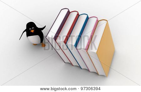 3D Penguin Running From Falling Big Books On Him Concept