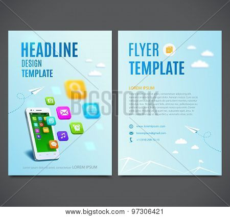 Template design flyer, white smartphone with cloud of application colorful icons. Vector
