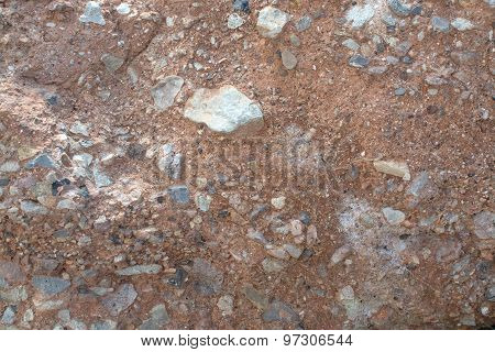 Red Breccia Or Rough Cast Wall For Background Texture