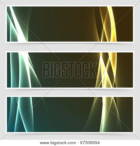 Electric Hi-tech Abstract Modern Banner Set