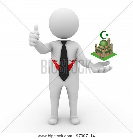 3d businessman people Easter Island  - Muslim mosque and Islam in Easter Island