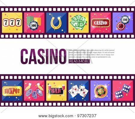 Film strips and set of colorful modern gambling icons, casino icons, money icons with long shadow fo