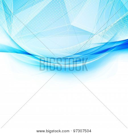 Blue Crystal And Swoosh Wave Pattern Layout