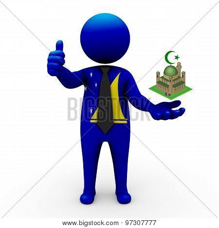 3d businessman people Tokelau - Muslim mosque and Islam in Tokelau