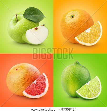 Set Of Colorful Fruits - Apple, Orange, Grapefruit, Lime