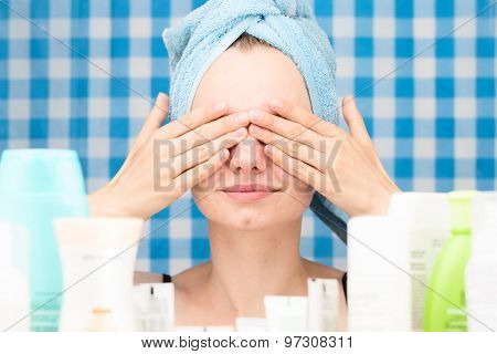 Girl Has Covered Her Eyes By Hands