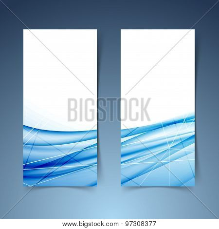 Blue Swoosh Wave And Line Abstract Banner