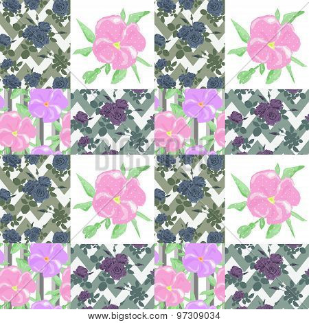 Patchwork Seamless Floral Pattern Ornament Background