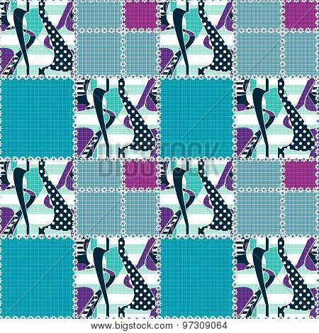 Patchwork Seamless Pattern Ornament Design Background