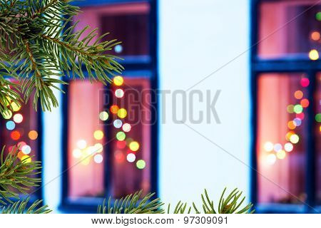 Christmas Windows With Christmas Twig