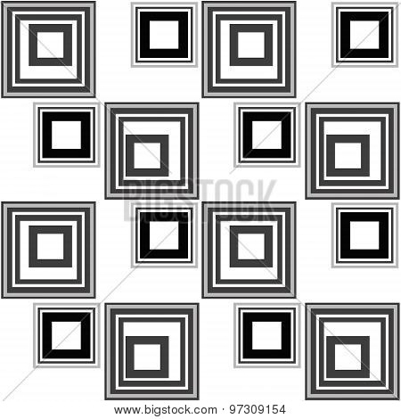 Abstract Modern Squares Seamless Pattern Texture Retro Monochrome Background