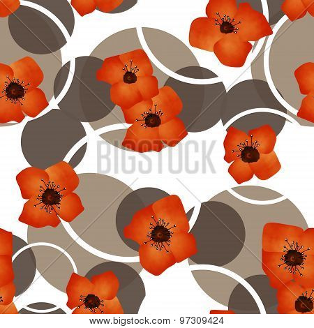 Seamless Orange Flowers Pattern With Circles Background